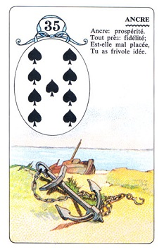 35  Anchor / Nine of Spades (Lenormand card meanings
